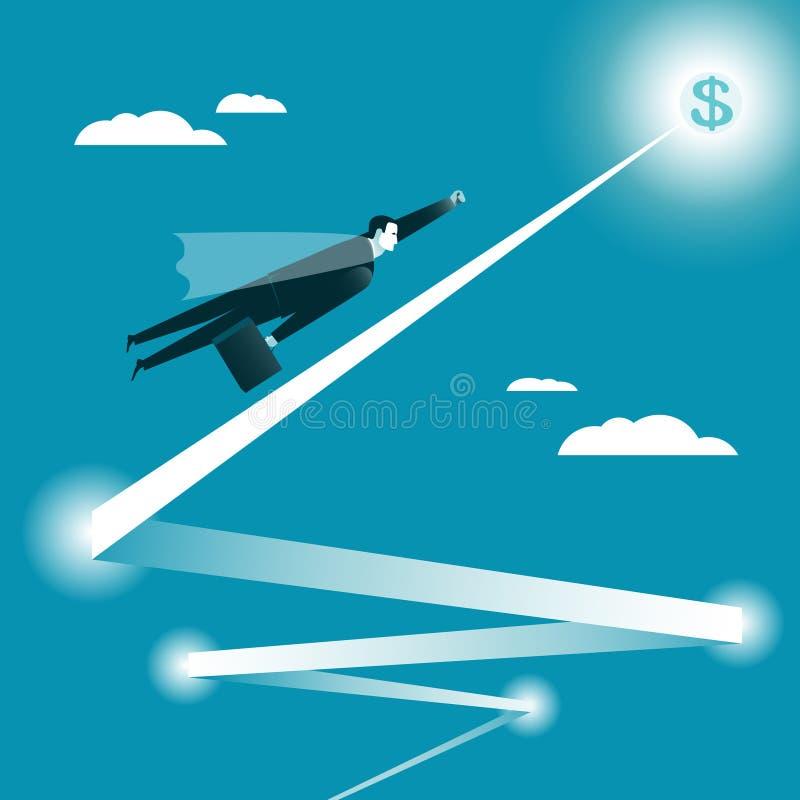 Vuelo del hombre de negocios a la meta ilustración del vector