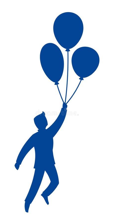 Vuelo del hombre en los globos ilustración del vector