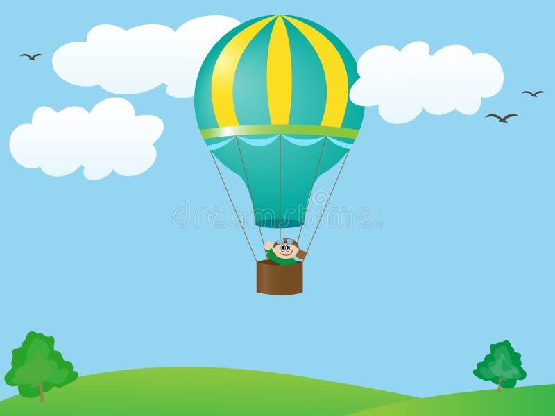 Vuelo del hombre en un globo ilustración del vector