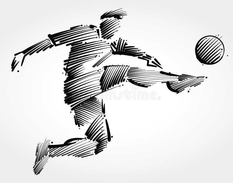 Vuelo del jugador de fútbol para golpear la bola con el pie ilustración del vector