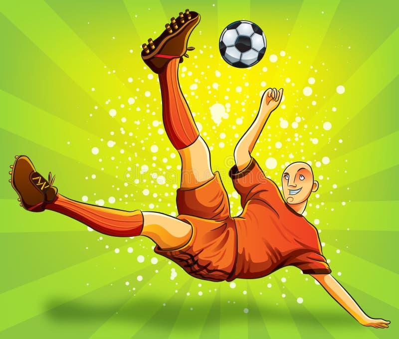 Vuelo del jugador de fútbol que tira una bola stock de ilustración