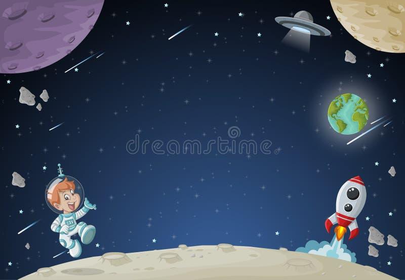 Vuelo del muchacho de la historieta del astronauta en el espacio con una lanzadera futurista del cohete libre illustration