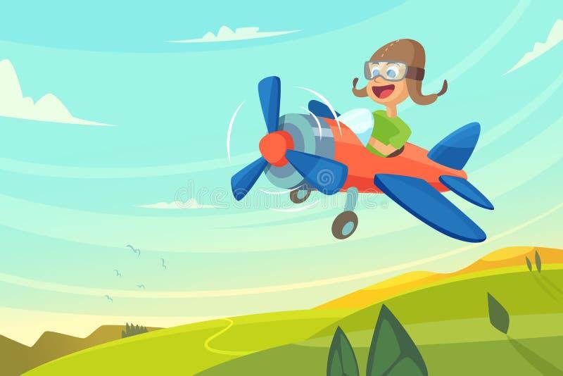 Vuelo del muchacho en aeroplano Ilustración divertida de la historieta stock de ilustración