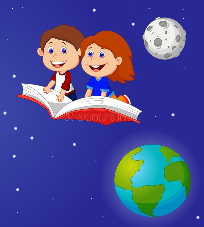 Vuelo del muchacho y de la muchacha de la historieta en un libro libre illustration