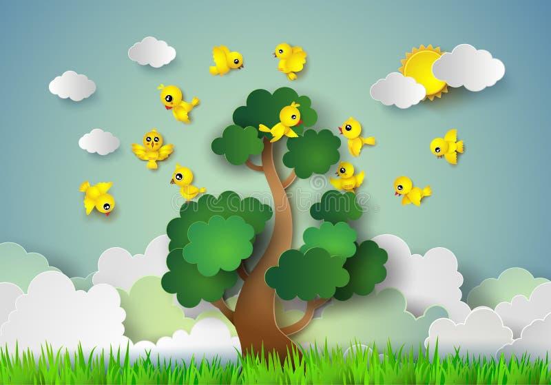 Vuelo del pájaro alrededor de un árbol libre illustration