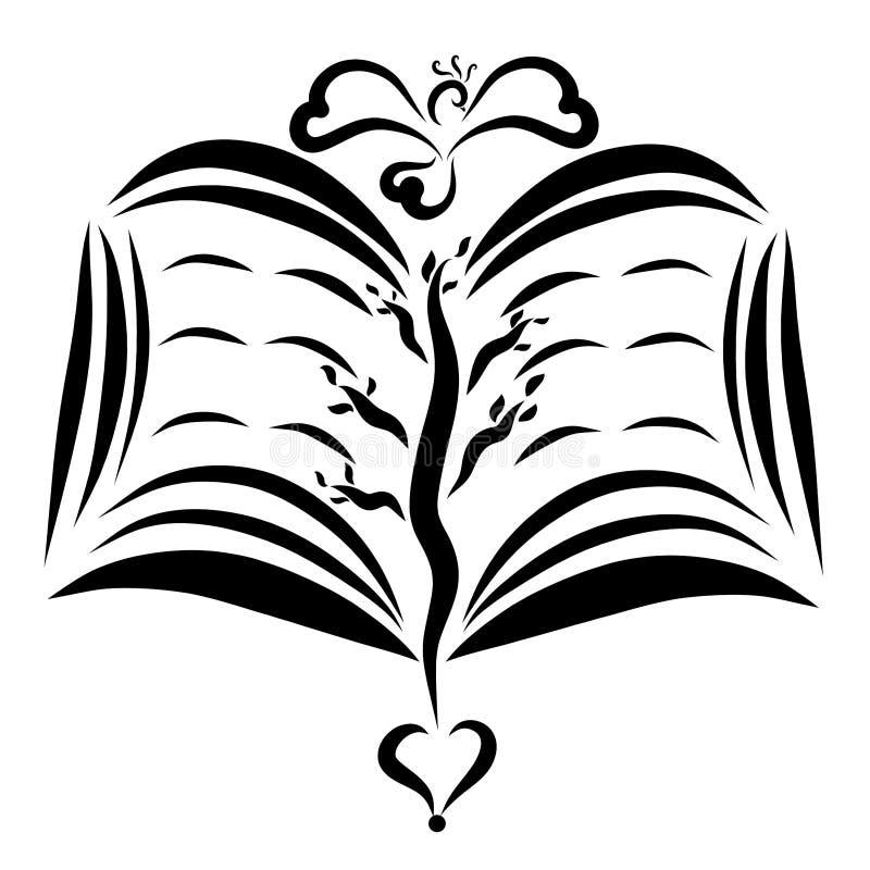 Vuelo del pájaro sobre un libro abierto con una imagen de la planta en las páginas stock de ilustración