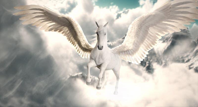 Vuelo del Pegaso El caballo majestuoso de Pegaso que volaba arriba sobre las nubes y la nieve enarbolaron las montañas stock de ilustración