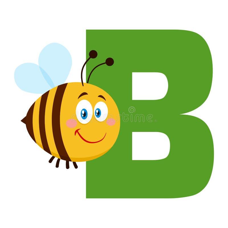 Vuelo del personaje de dibujos animados de la abeja sobre la letra B imagen de archivo