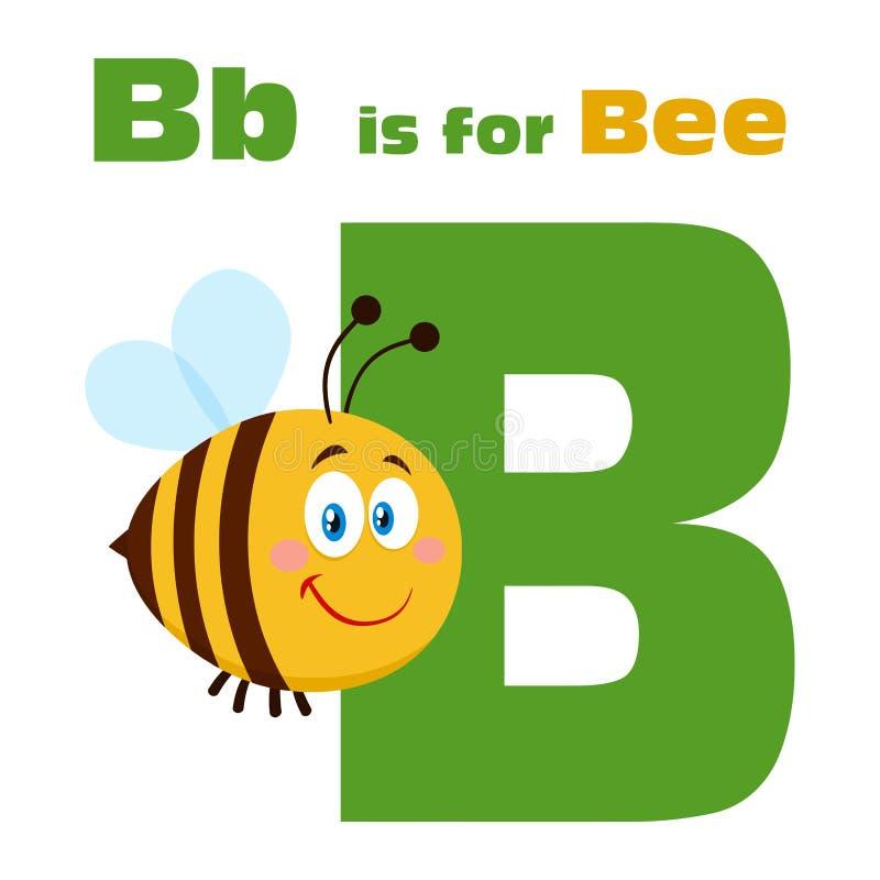 Vuelo del personaje de dibujos animados de la abeja sobre la letra B y el texto foto de archivo