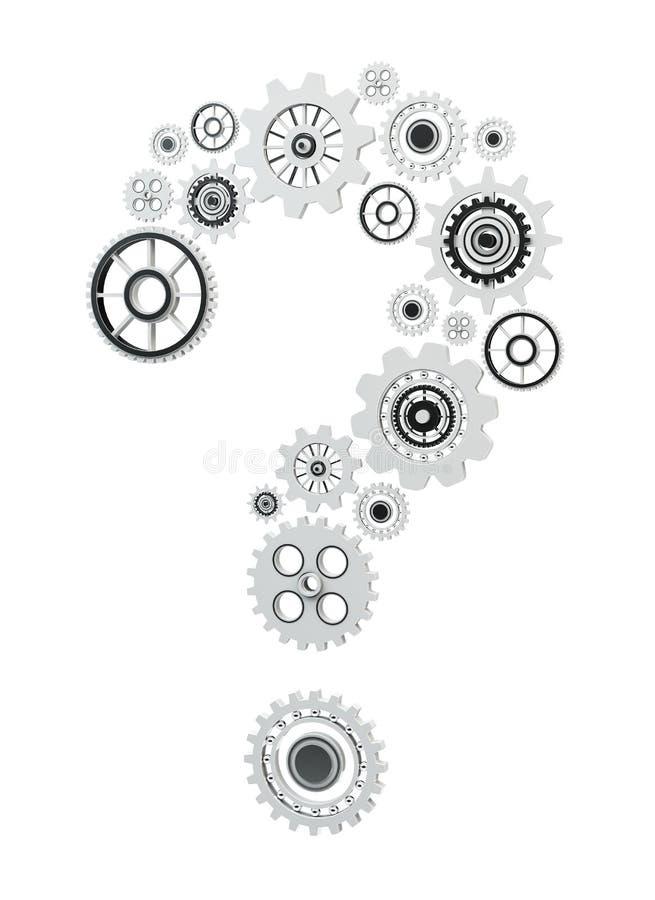 vuelo del signo de interrogación de los iconos del engranaje de la representación 3D stock de ilustración