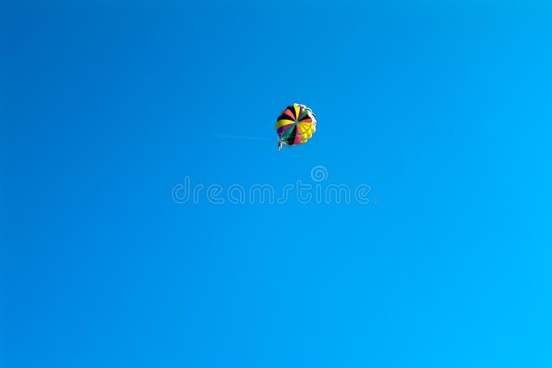 Vuelo del Skydiver en el paracaídas coloreado en cielo claro azul imagenes de archivo