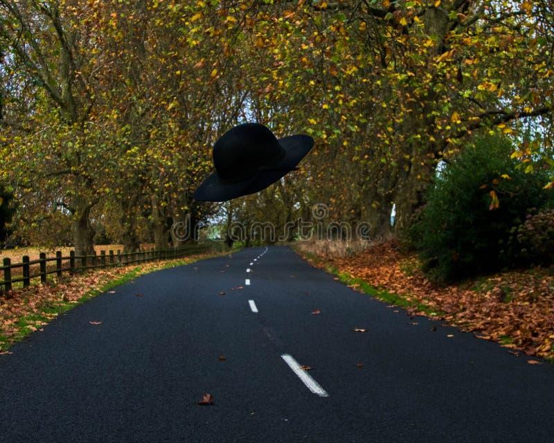 Vuelo del sombrero en el viento del otoño fotos de archivo