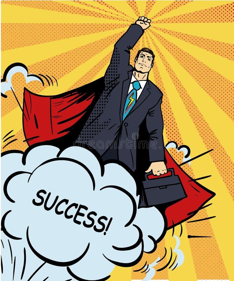 Vuelo del superhéroe del hombre de negocios con la cartera Ejemplo del vector en estilo retro del arte pop Concepto cómico del éx stock de ilustración