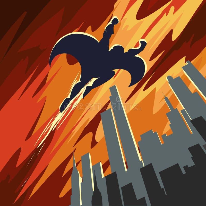 Vuelo del superhéroe en el cielo stock de ilustración