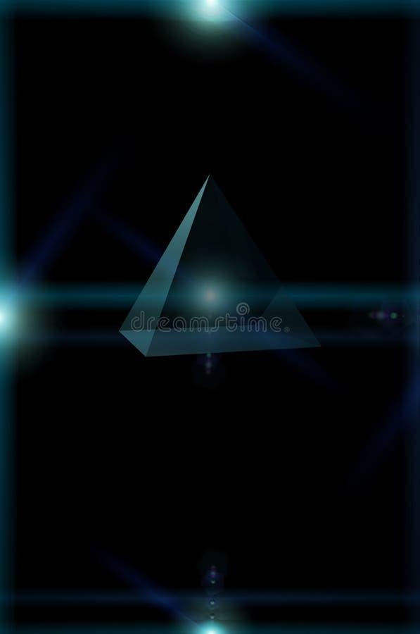 vuelo del triángulo 3D en el espacio abierto, triángulo rodeado por las luces de la estrella, fuente de alimentación de energía s ilustración del vector