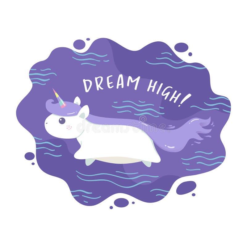 Vuelo del unicornio con el texto de las citas ilustración del vector