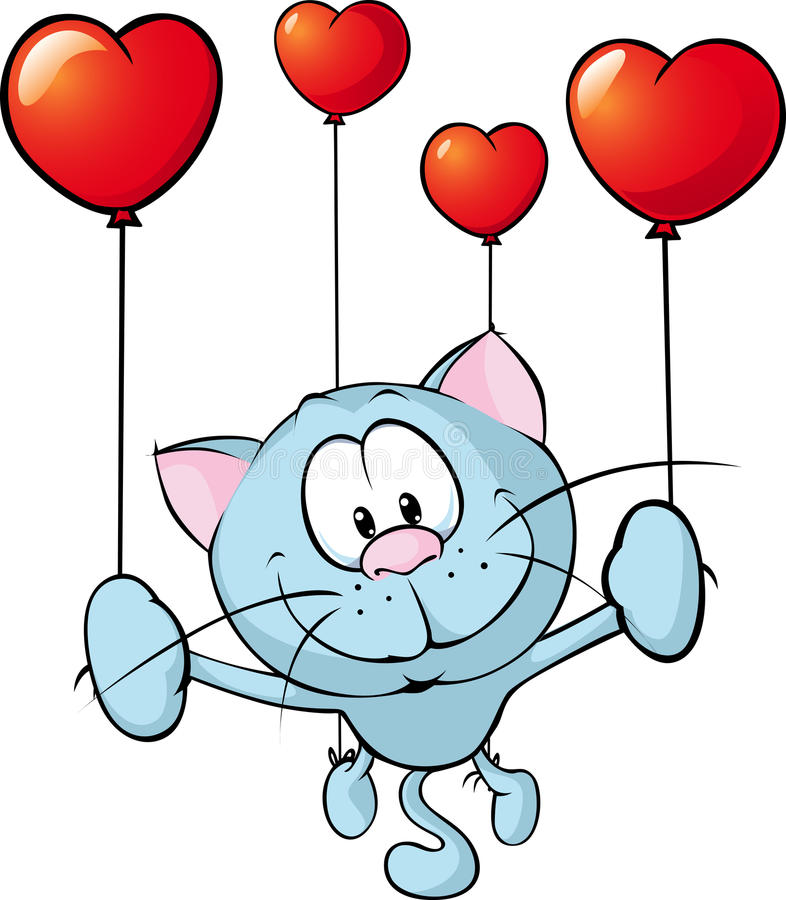Vuelo divertido con el globo - vector del gato azul ilustración del vector