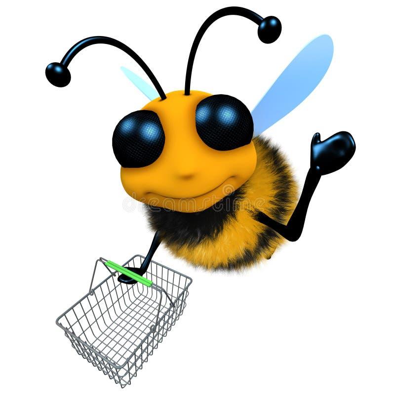 Vuelo divertido del carácter de la abeja de la miel de la historieta 3d con una cesta que hace compras stock de ilustración