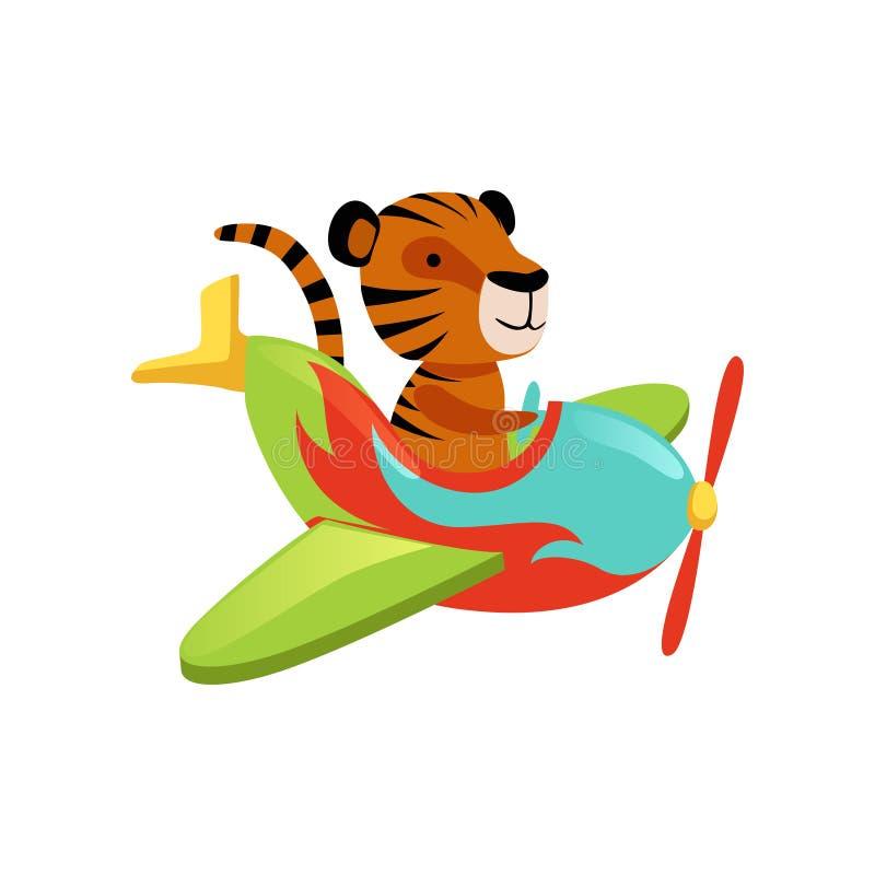 Vuelo divertido del tigre en el aeroplano multicolor Animal salvaje anaranjado de la historieta con las rayas negras Diseño plano libre illustration