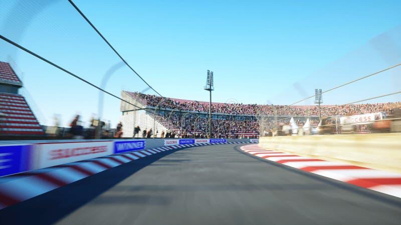 Vuelo en el circuito de carreras Conducción muy rápida representación 3d stock de ilustración