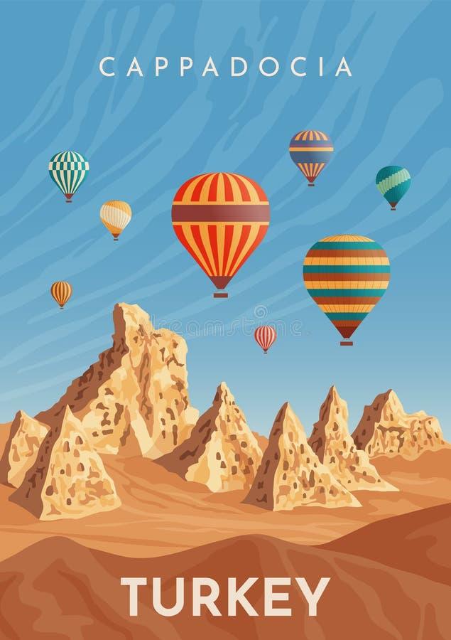 Vuelo en globo aerostático de Cappadocia. Viaje a Turqu?a. Afiche retro, pancarta vintage. Ejemplo plano del vector ilustración del vector