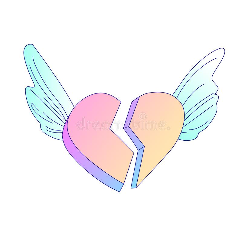 Vuelo en icono de la historieta del vector del corazón quebrado de las alas del ángel angustia icono del vector de la historieta  libre illustration