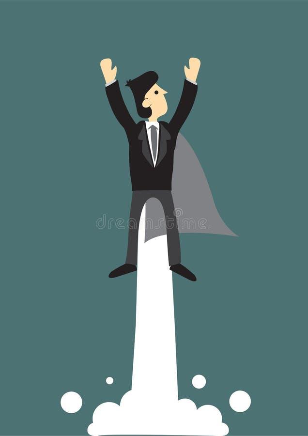 Vuelo estupendo del hombre de negocios en el cielo libre illustration
