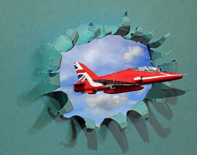 Vuelo estupendo del jet a través del agujero más baririer en exhibición de la tarjeta de la pared la aero- ilustración del vector