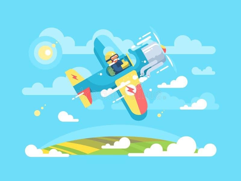 Vuelo experimental en el aeroplano stock de ilustración
