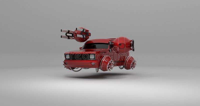 Vuelo fantástico del coche con la representación de los abejones 3d stock de ilustración