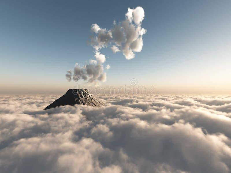 Vuelo fantástico sobre las nubes stock de ilustración