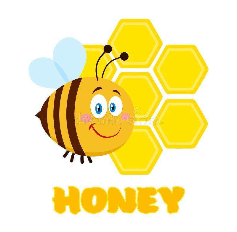 Vuelo feliz de la abeja del personaje de dibujos animados de la abeja en los panales de Front Of A con el texto fotografía de archivo