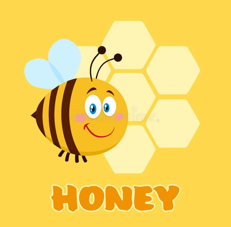 Vuelo feliz de la abeja del personaje de dibujos animados de la abeja en los panales de Front Of A con el texto foto de archivo