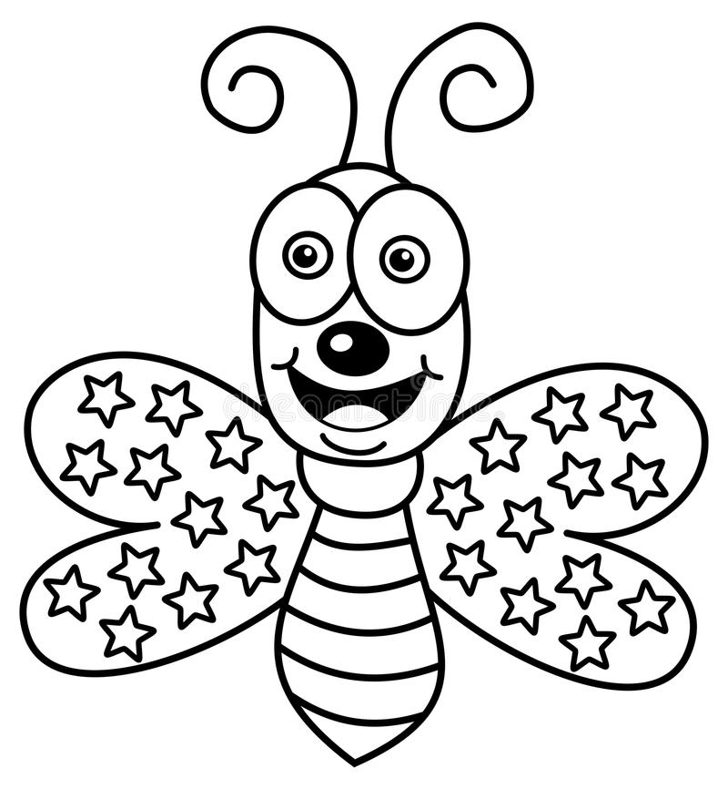 Vuelo Feliz De La Mariposa Para Colorear Stock de ilustración ...