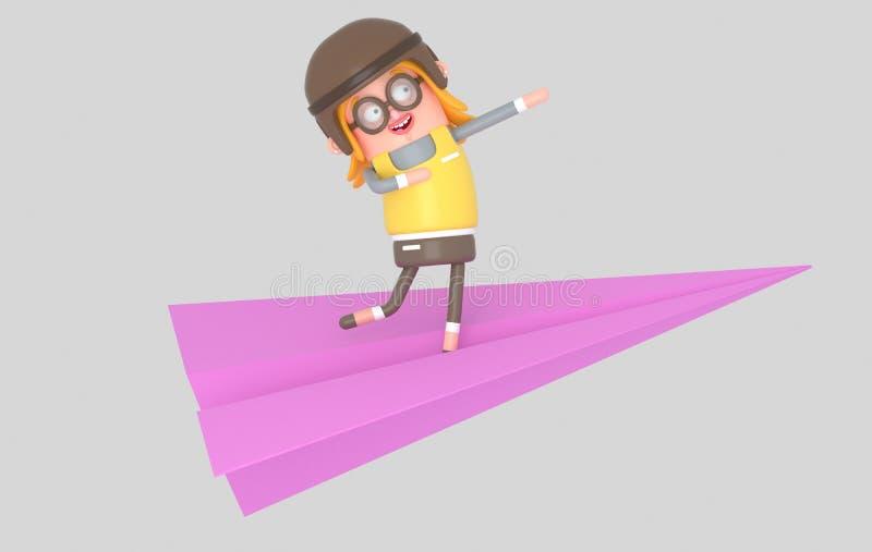 Vuelo feliz de la muchacha en un avión de papel ilustración 3D stock de ilustración