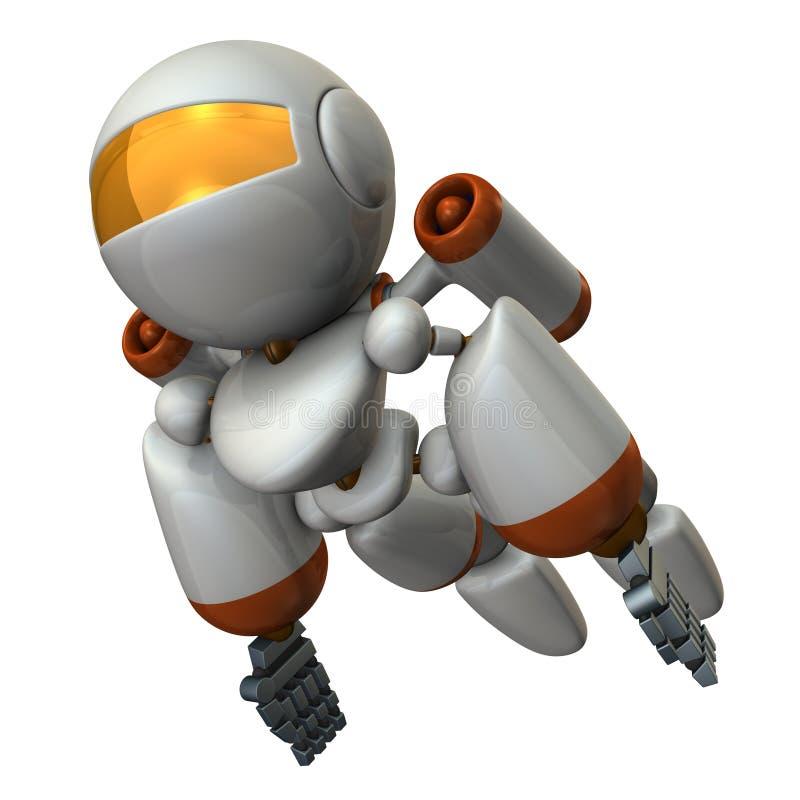 Vuelo fresco del robot en el cielo Es fuertemente valiente stock de ilustración