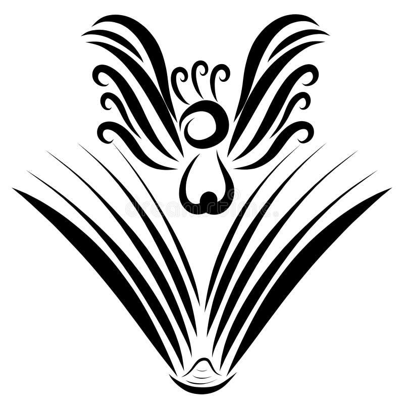 Vuelo fuera del libro, modelo negro del pájaro libre illustration