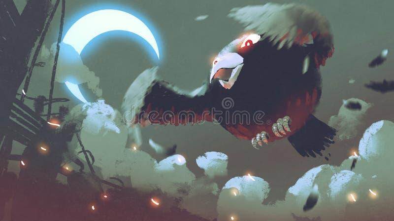Vuelo gordo gigante del pájaro en el cielo nocturno stock de ilustración