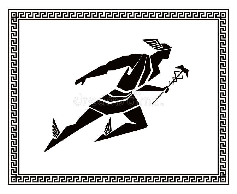 Vuelo Hermes en el marco griego Gráfico del vector stock de ilustración