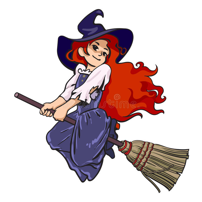 Vuelo joven lindo de la bruja de Halloween en la escoba ilustración del vector