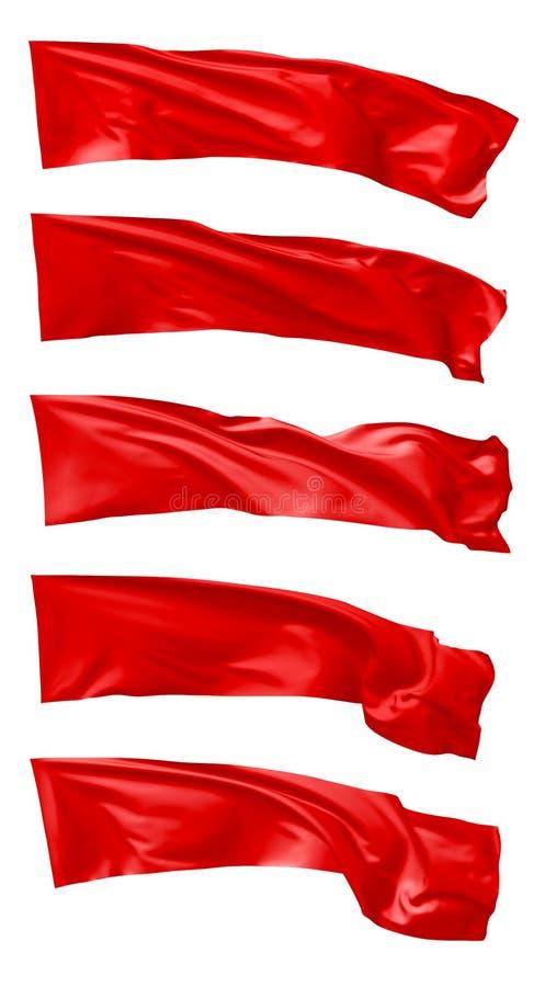 Vuelo largo de la bandera roja en sistema del viento ilustración del vector