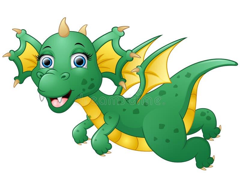 Vuelo lindo de la historieta del dragón stock de ilustración