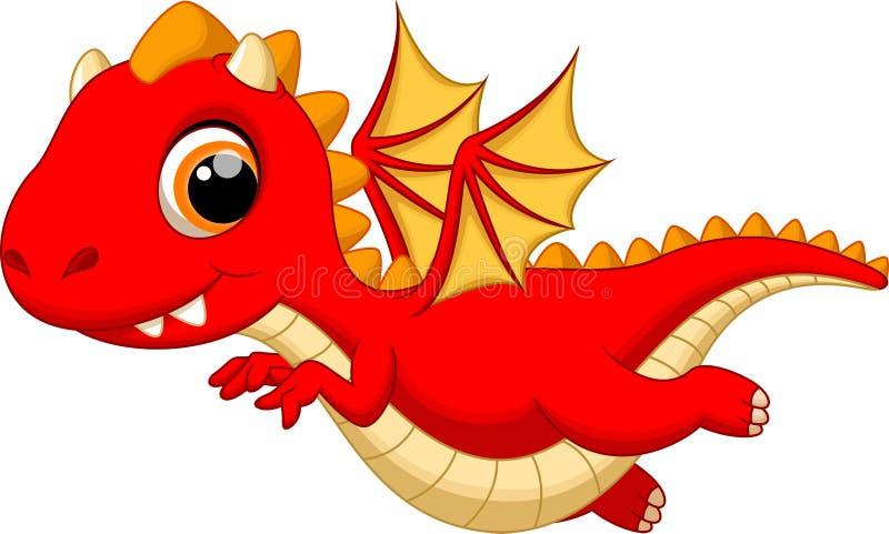 Vuelo lindo de la historieta del dragón del bebé ilustración del vector