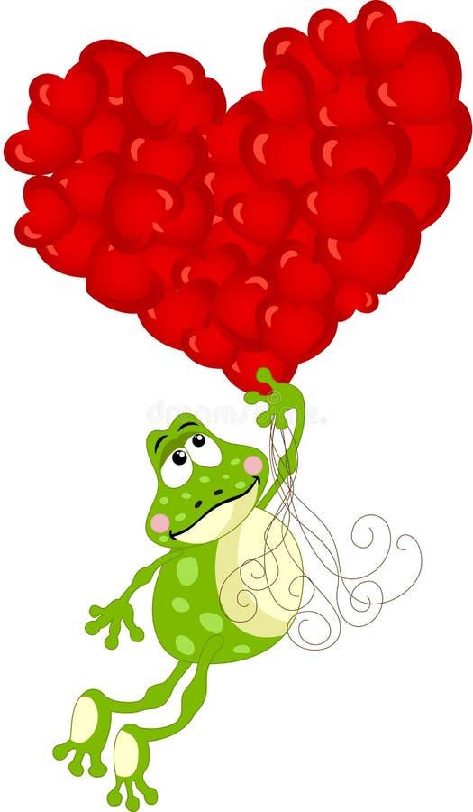 Vuelo lindo de la rana con los globos del corazón stock de ilustración