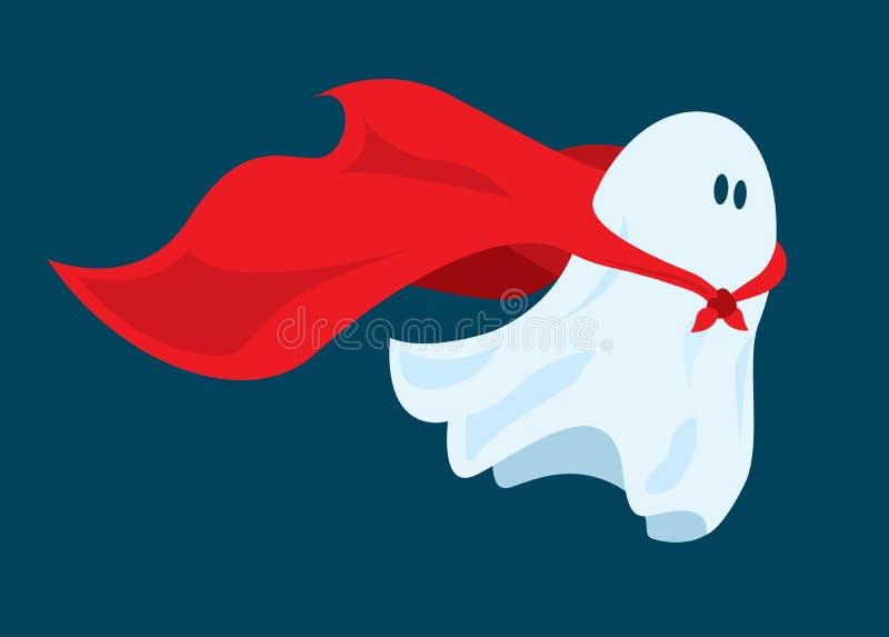 Vuelo lindo del fantasma del superhéroe con el cabo stock de ilustración
