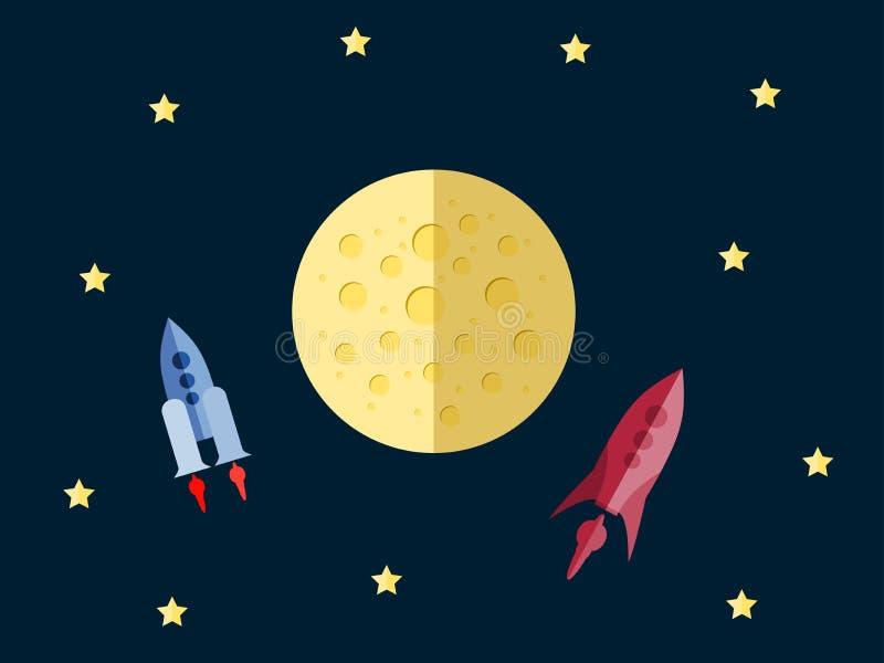 Vuelo a Marte Nave espacial en espacio en un estilo plano Espacio al aire libre ilustración del vector