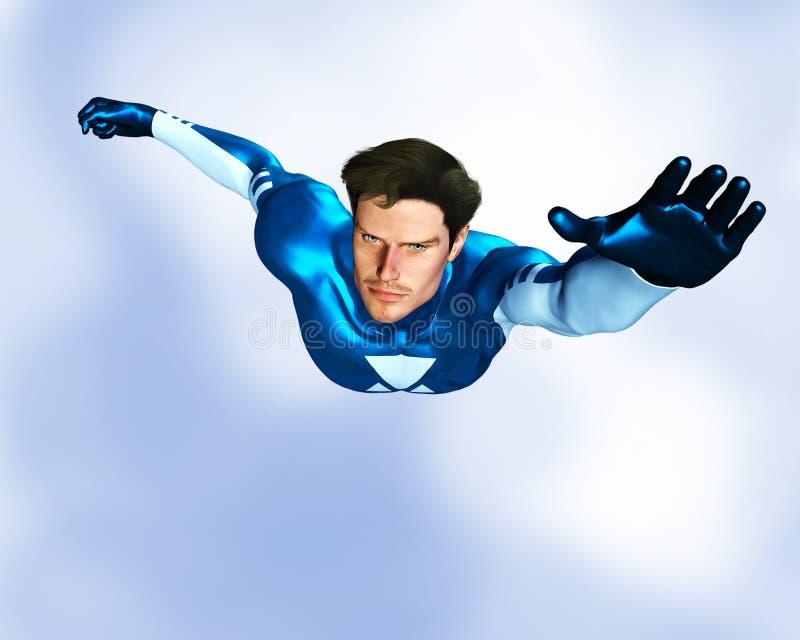 Vuelo masculino del super héroe stock de ilustración