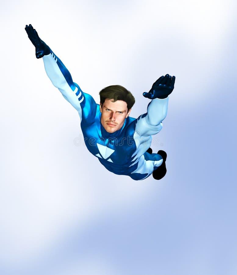 Vuelo masculino del super héroe ilustración del vector