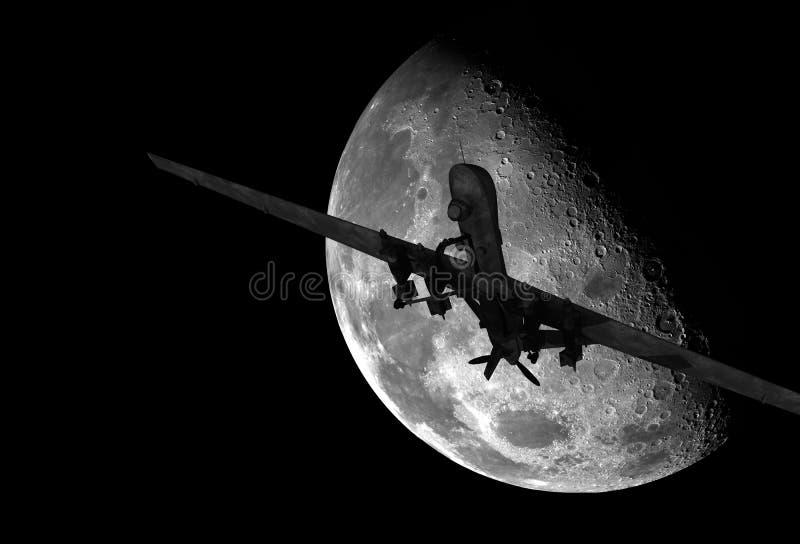 Vuelo militar del abejón en la noche ilustración del vector