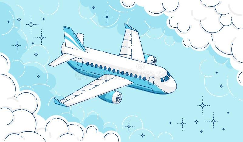 Vuelo plano del avión de pasajeros del pasajero en el cielo rodeado por las nubes, línea fina hermosa vector de 3d stock de ilustración